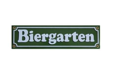 Emailschild Biergarten grün 8 x 30 cm