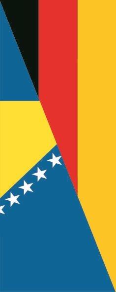 Flagge Bosnien Herzegowina - Deutschland im Hochformat