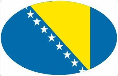 Aufkleber oval Bosnien Herzegowina 10 x 6,5 cm