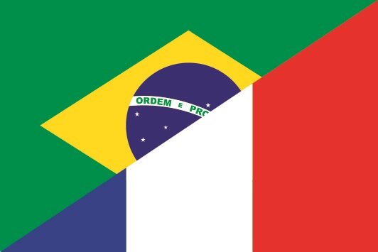 Flagge Brasilien - Frankreich
