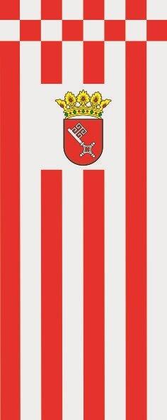 Flagge Bremen mit Wappen im Hochformat
