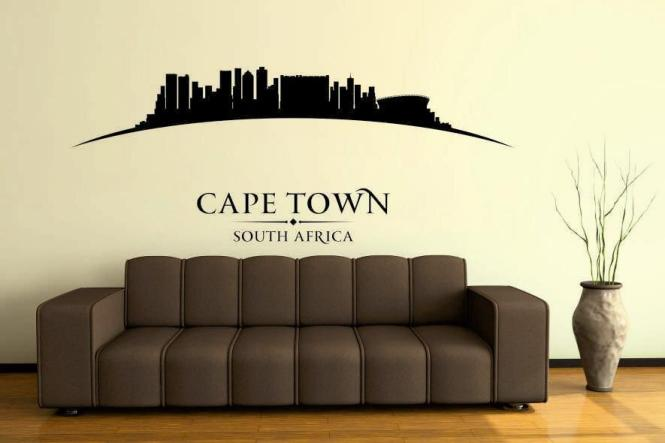 wandtattoo cape town skyline gebogen s schwarz. Black Bedroom Furniture Sets. Home Design Ideas
