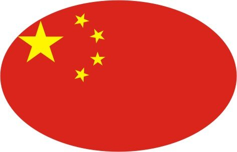 Aufkleber oval China 10 x 6,5 cm