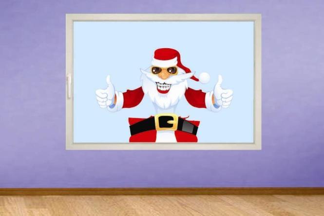 Fenstertattoo Cooler Weihnachtsmann