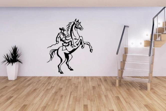 Wandtattoo Cowboy auf Pferd