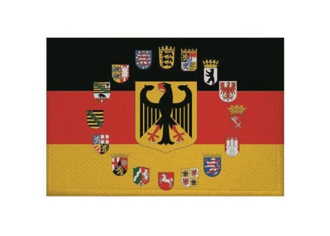 Aufnäher Patch Deutschland Adler mit 16 Bundesländer Wappen 9 x 6 cm