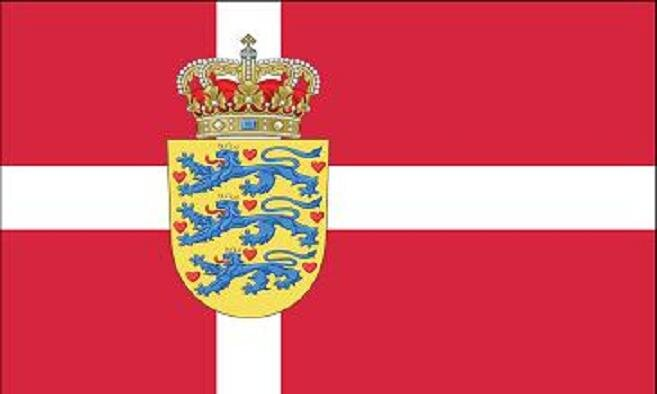 Flagge Dänemark mit Wappen