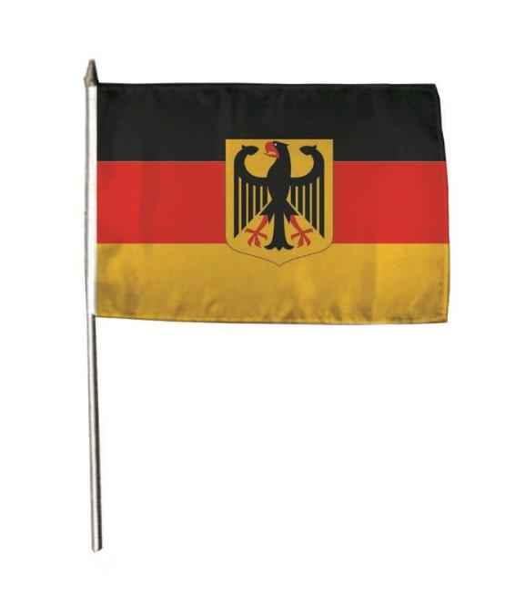 Stockflagge Deutschland mit Adler 30 x 45 cm