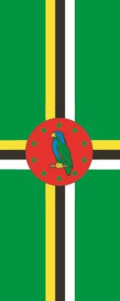 Flagge Dominica im Hochformat