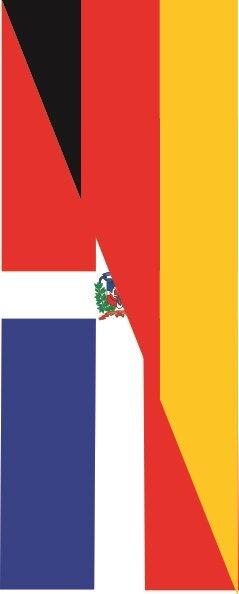 Flagge Dominikanische Republik - Deutschland im Hochformat