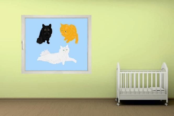 Fenstertattoo Drei Katzen