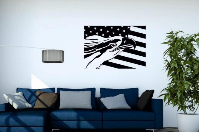Wandtattoo Eagle with US Flag