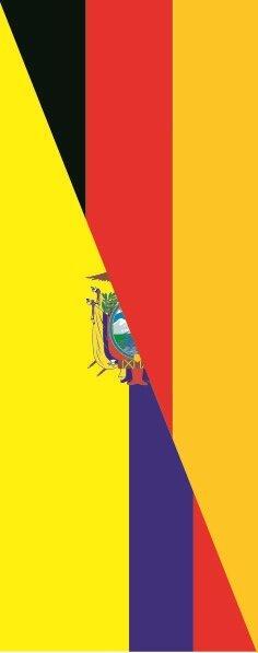 Flagge Ecuador - Deutschland im Hochformat