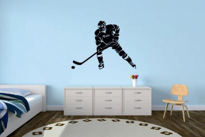 wandtattoo eishockeyspieler mit wunschnamen motiv nr 2. Black Bedroom Furniture Sets. Home Design Ideas