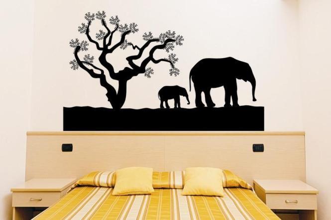 Wandtattoo Elefanten mit Baum