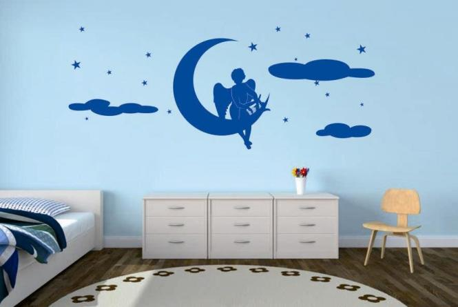 wandtattoo engel mit harfe auf mond. Black Bedroom Furniture Sets. Home Design Ideas