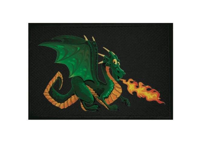 Aufnäher Patch Feuerspuckender Drache schwarz 9 x 6 cm