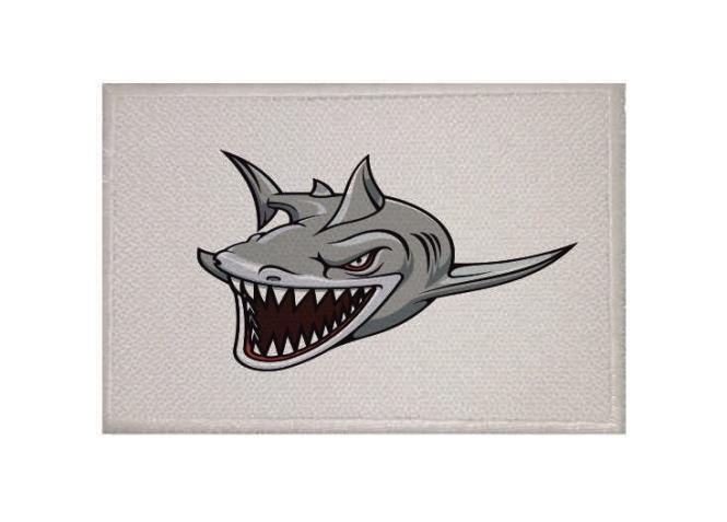 Aufnäher Patch Fieser Hai weiß 9 x 6 cm