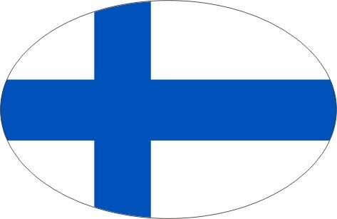 Aufkleber oval Finnland 10 x 6,5 cm