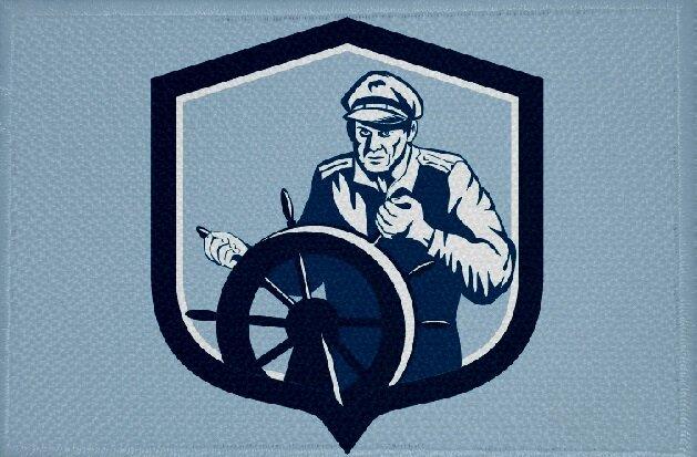 Aufnäher Fisch Steuermann Motiv Nr. 14 Patch 9 x 6 cm