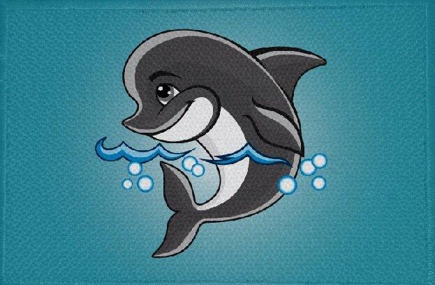 Aufnäher Fisch kleiner Delfin Motiv Nr. 8 Patch 9 x 6 cm