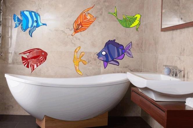 Wandtattoo Fische-Set Color Motiv Nr. 4