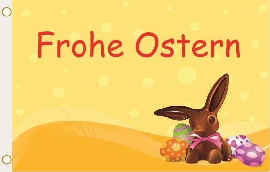 Fahne Frohe Ostern Schokohase Deutsch 90 x 150 cm