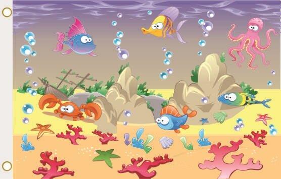 Fahne Funny lustige Fische 90 x 150 cm