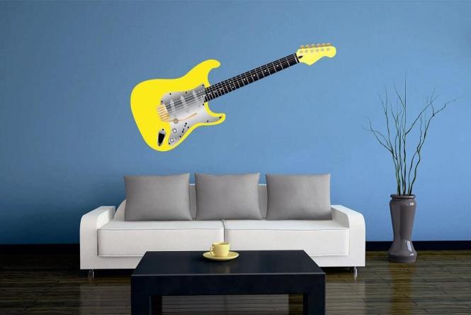 Wandtattoo Gitarre gelb