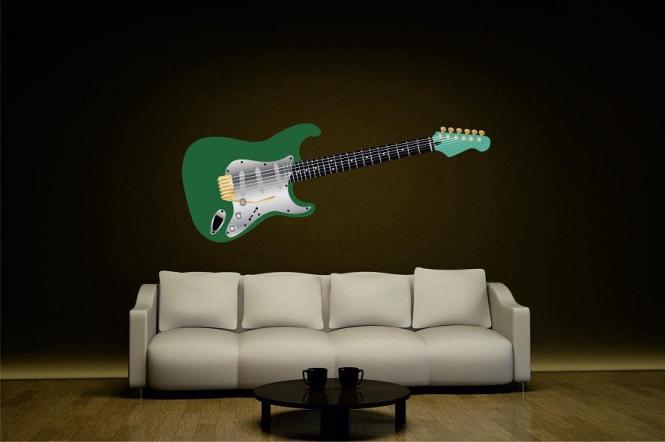 Wandtattoo Gitarre grün