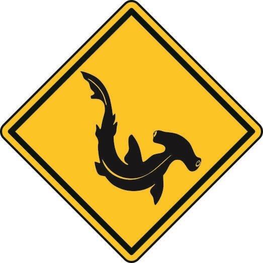 Aufkleber Vorsicht / Achtung Hammerhai