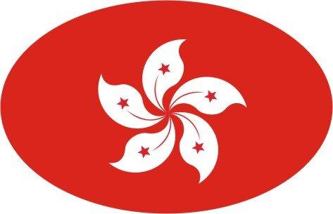 Aufkleber oval Hong Kong 10 x 6,5 cm