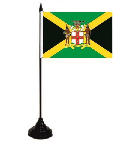 Tischflagge Jamaika mit Wappen 10 x 15 cm
