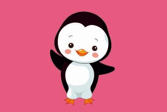 Flagge Junger Pinguin rosa