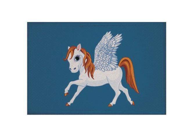 Aufnäher Patch kleiner Pegasus blau 9 x 6 cm