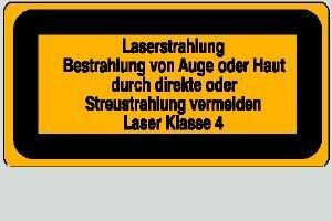 Laser Klasse 4 Laserstrahlung 14,8 x 7,4 cm