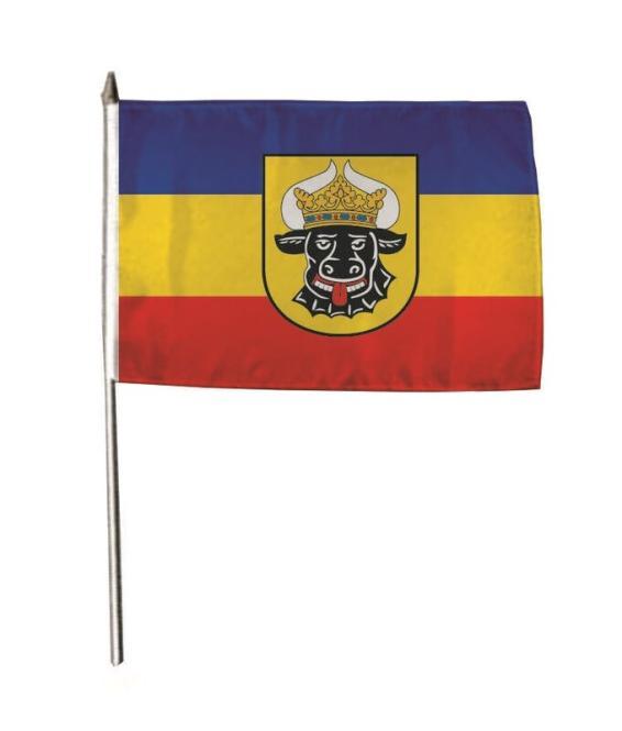 Stockflagge Mecklenburg Ochsenkopf 30 x 45 cm