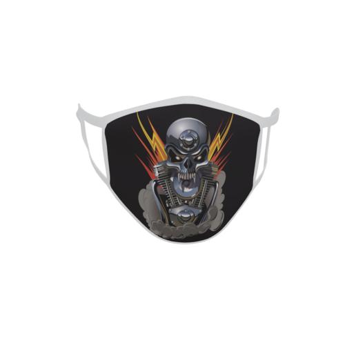 Gesichtsmaske Behelfsmaske Mundschutz Metall Skull mit Blitzen