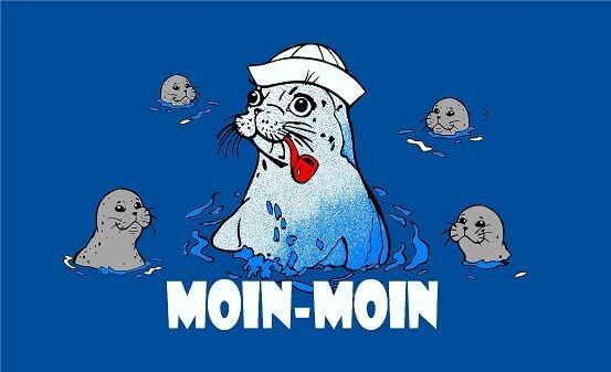 Fahne Moin Moin Seehund mit Babies 90 x 150 cm