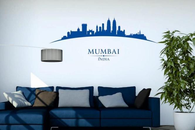 wandtattoo mumbai skyline gebogen. Black Bedroom Furniture Sets. Home Design Ideas