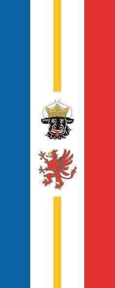 Flagge Mecklenburg - Vorpommern im Hochformat