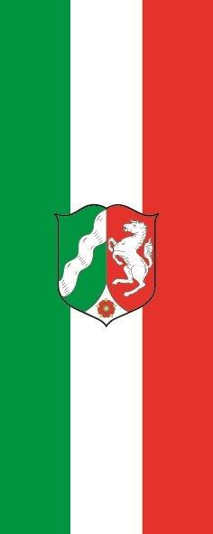Flagge Nordrhein - Westfalen mit Wappen im Hochformat