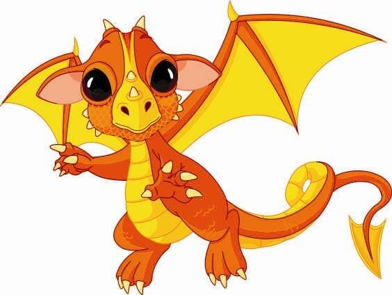 Aufkleber orangener Baby Drachen