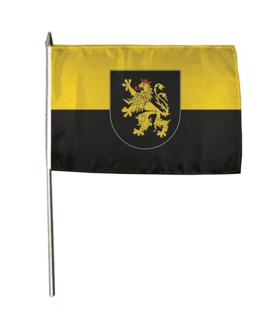 Stockflagge Pfalz mit Wappen 30 x 45 cm