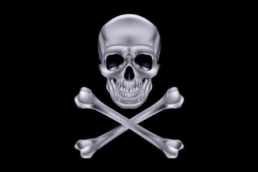 Aufkleber Pirat Cross Bone silber