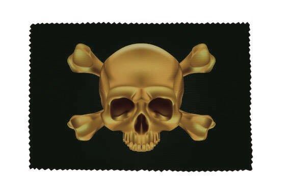 Glasreinigungstuch Pirat Skull Bones gold