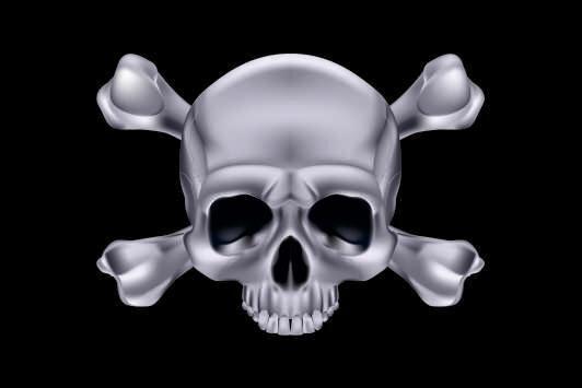 Aufkleber Pirat Skull Bones Silber