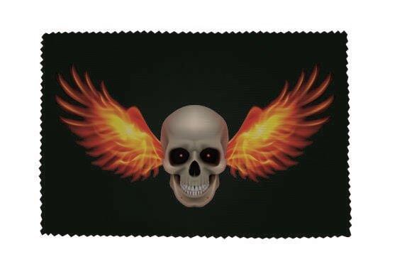 Glasreinigungstuch Pirat Totenkopf mit Feuerflügel