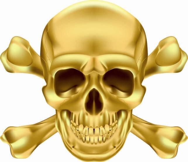 Aufkleber Pirat Totenkopf Gold