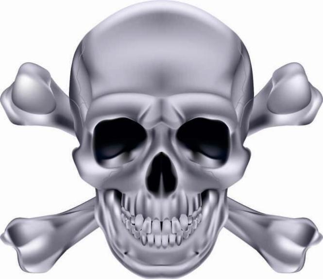 Aufkleber Pirat Totenkopf Silber